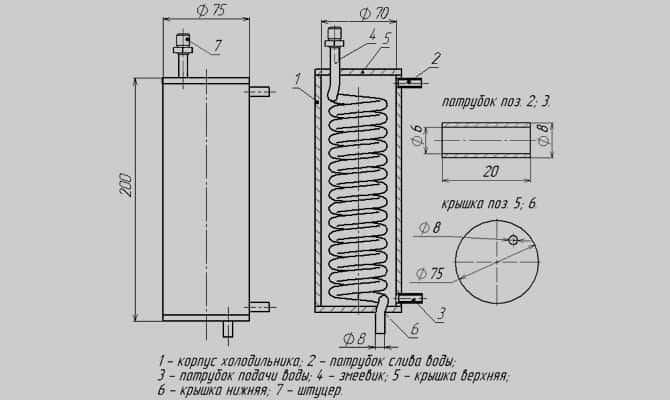 Холодильник в самогонном аппарате – как и на что в работе дистиллятора влияет материал охладителя