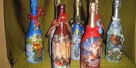Как сделать декупаж шампанского на Новый год?