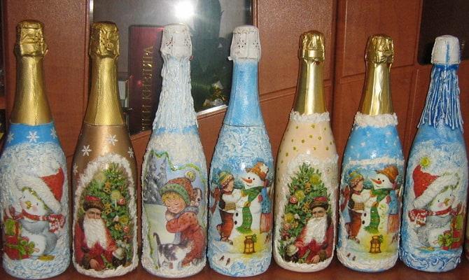 Красивая бутылка шампанского на новый год - Как оригинально украсить новогоднее шампанское?