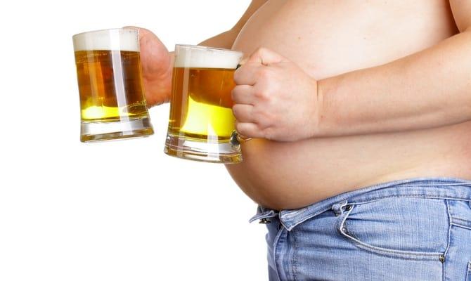 Пивной живот - результат потребления пива